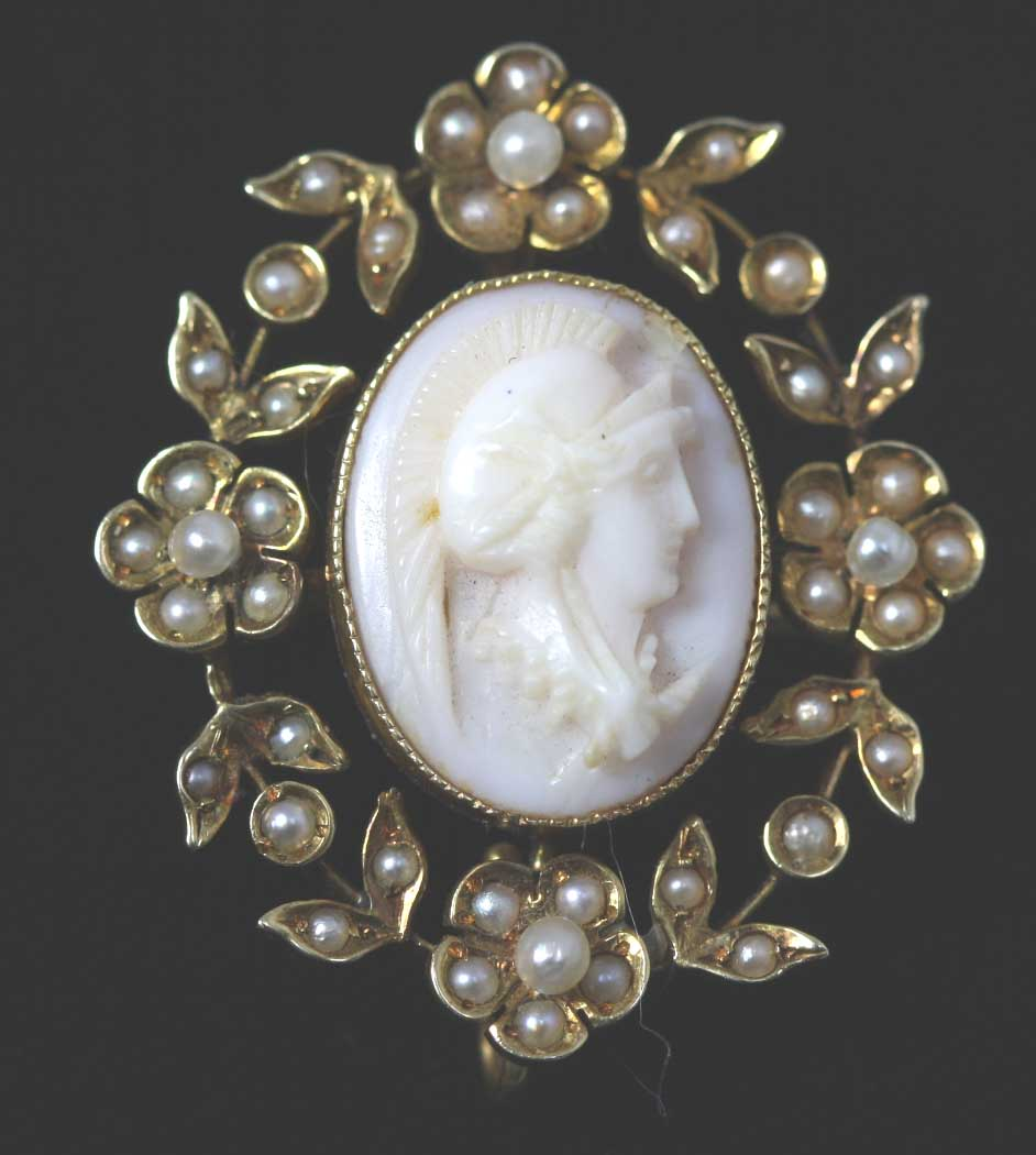 Cameo And Seed Pearl Brooch