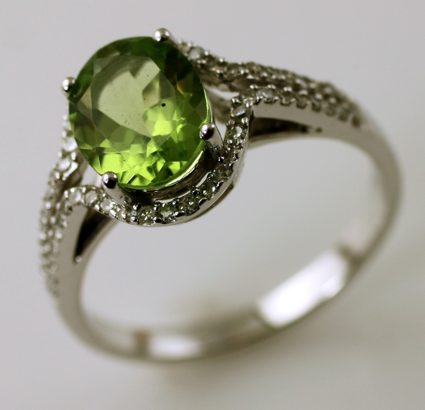 Peridot And Diamond Halo Ring,  SKU 157-03580