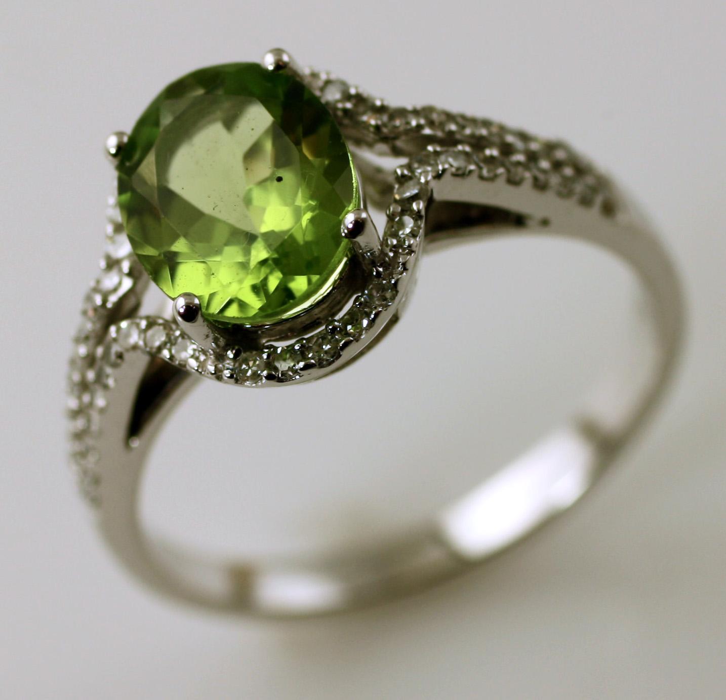 Peridot and Diamond Halo Ring,  SKU 157-03580